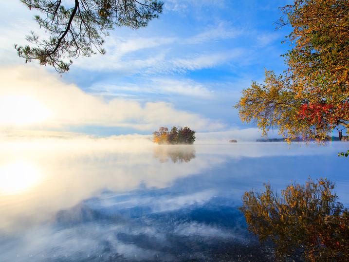 Island in the Mist, Pontoosuc Lake, The Berkshires, Massachusetts