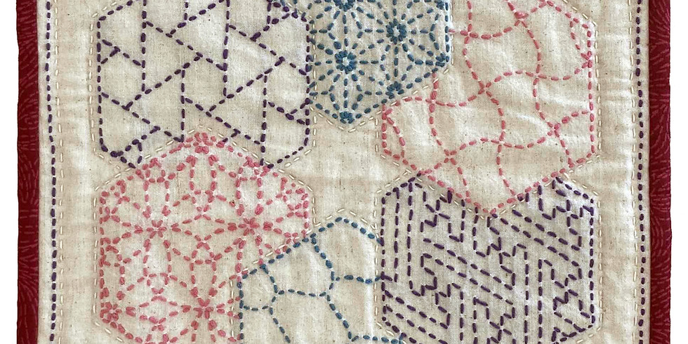 """Rescheduled April 26 and May 3, 10 and 17 - March Workshop: """"Contemporary Sashiko Sampler"""""""