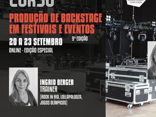 """Curso """"Produção de Backstage em Festivais e Eventos"""" com Ingrid Berger (Rock in Rio) - 9ª edição"""