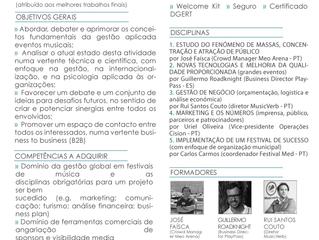 ACADEMIA/FORMAÇÃO: Curso Music Festivals Management (5ª edição - 20 a 24 novembro)