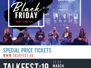 Iberian Festival Awards applications - last day. Talkfest'19 also has Black Friday.