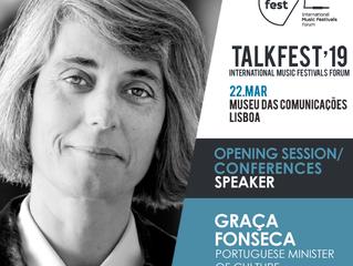 Talkfest'19: Ministra da Cultura (Graça Fonseca) fará a abertura oficial do dia profissional