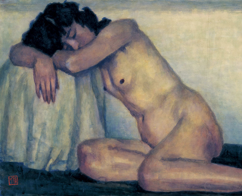 趴着的人体--54cm×67cm-水彩-1987