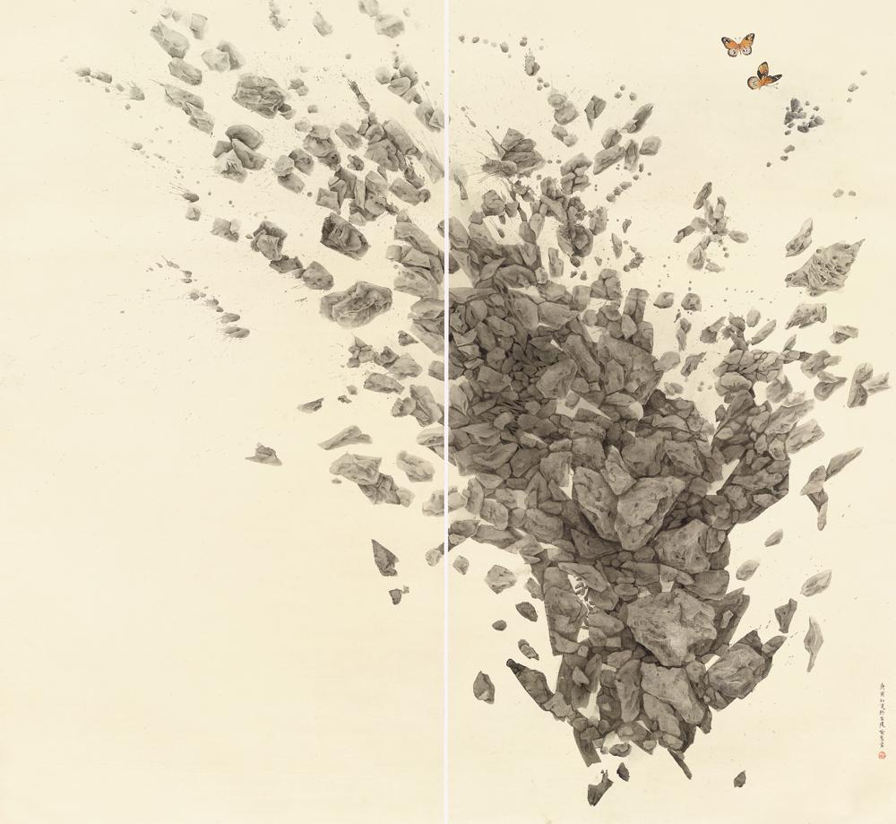 《蝴蝶惊梦》--170cm×92cm×2--2010年