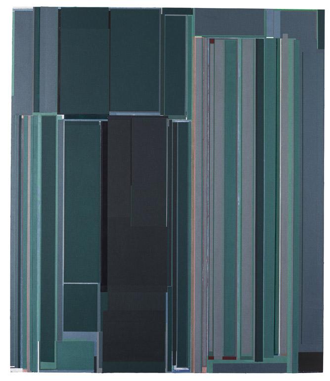 刘可 叠绿 2016-17 布面油彩、丙烯与水彩 210 x 180 cm