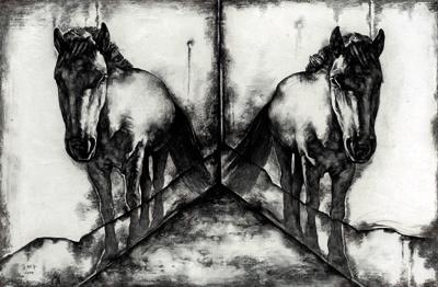 2004 影子4号 160×245cm 纸本素描2