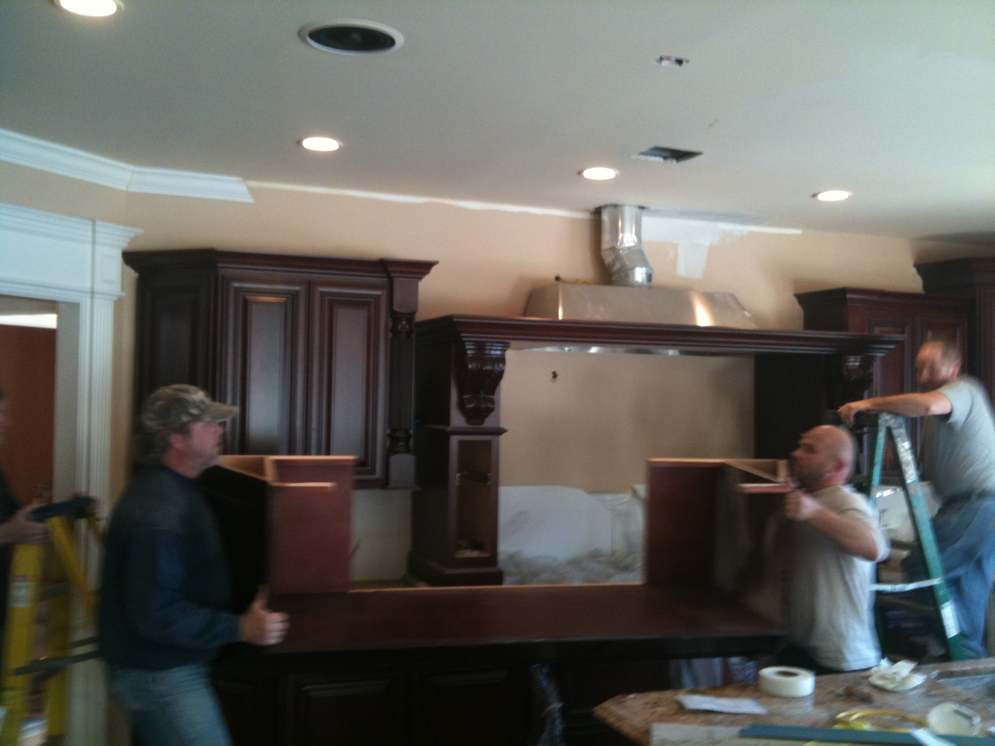 install cherry custom kitchen cabinets