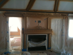 fireplace being finished