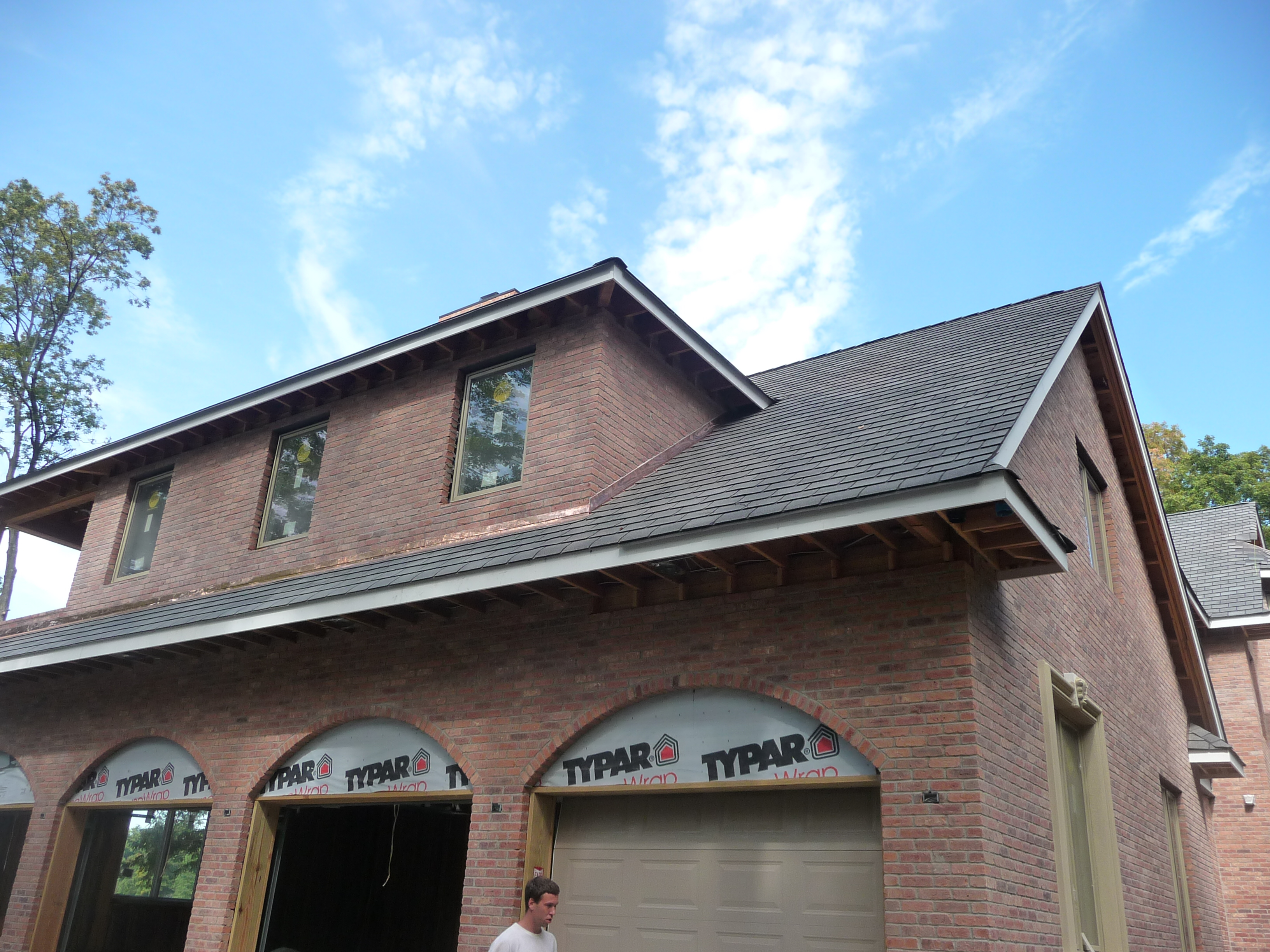 custom residential brick exterior during construction