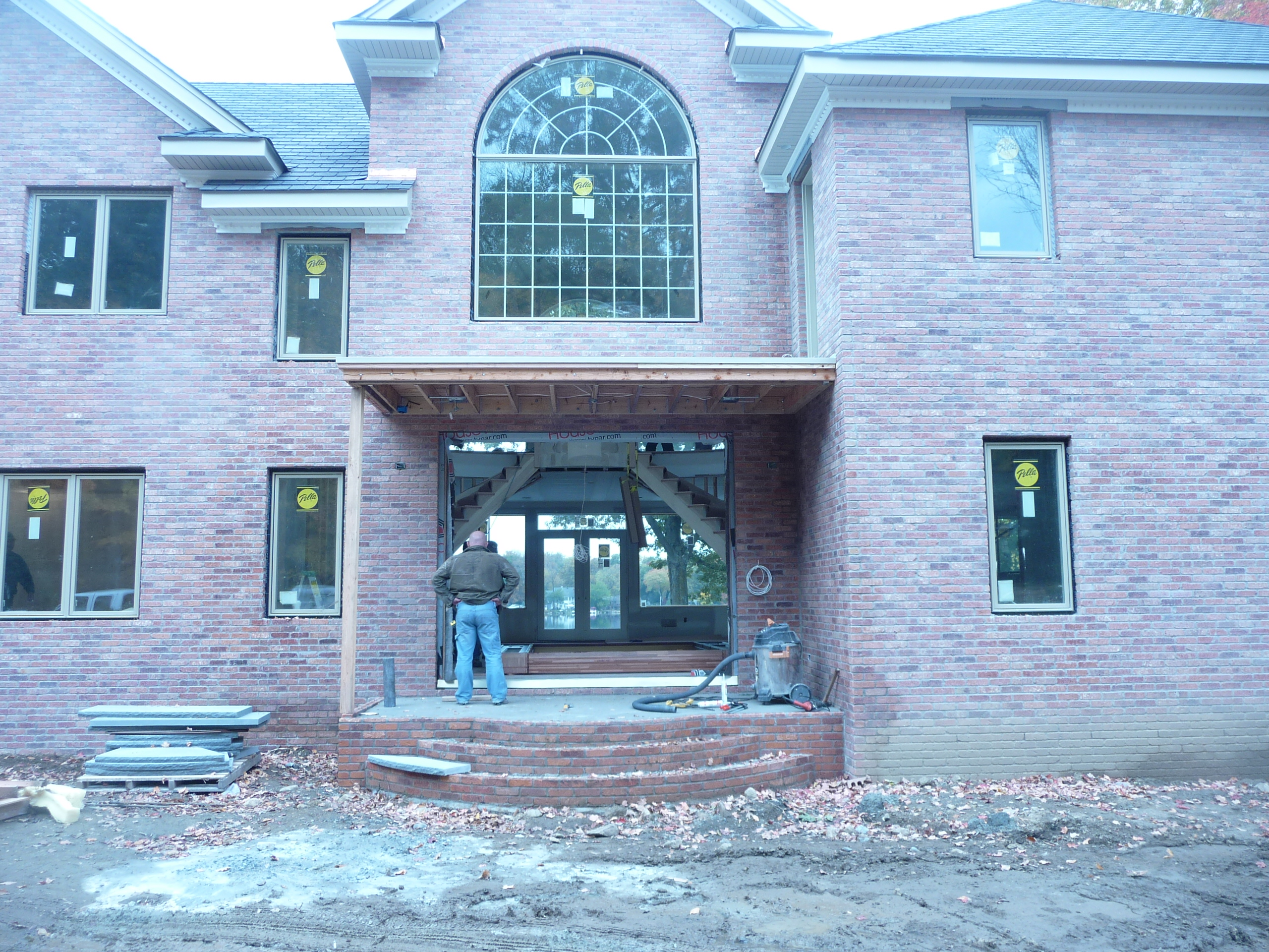 custom brick entrance during construction