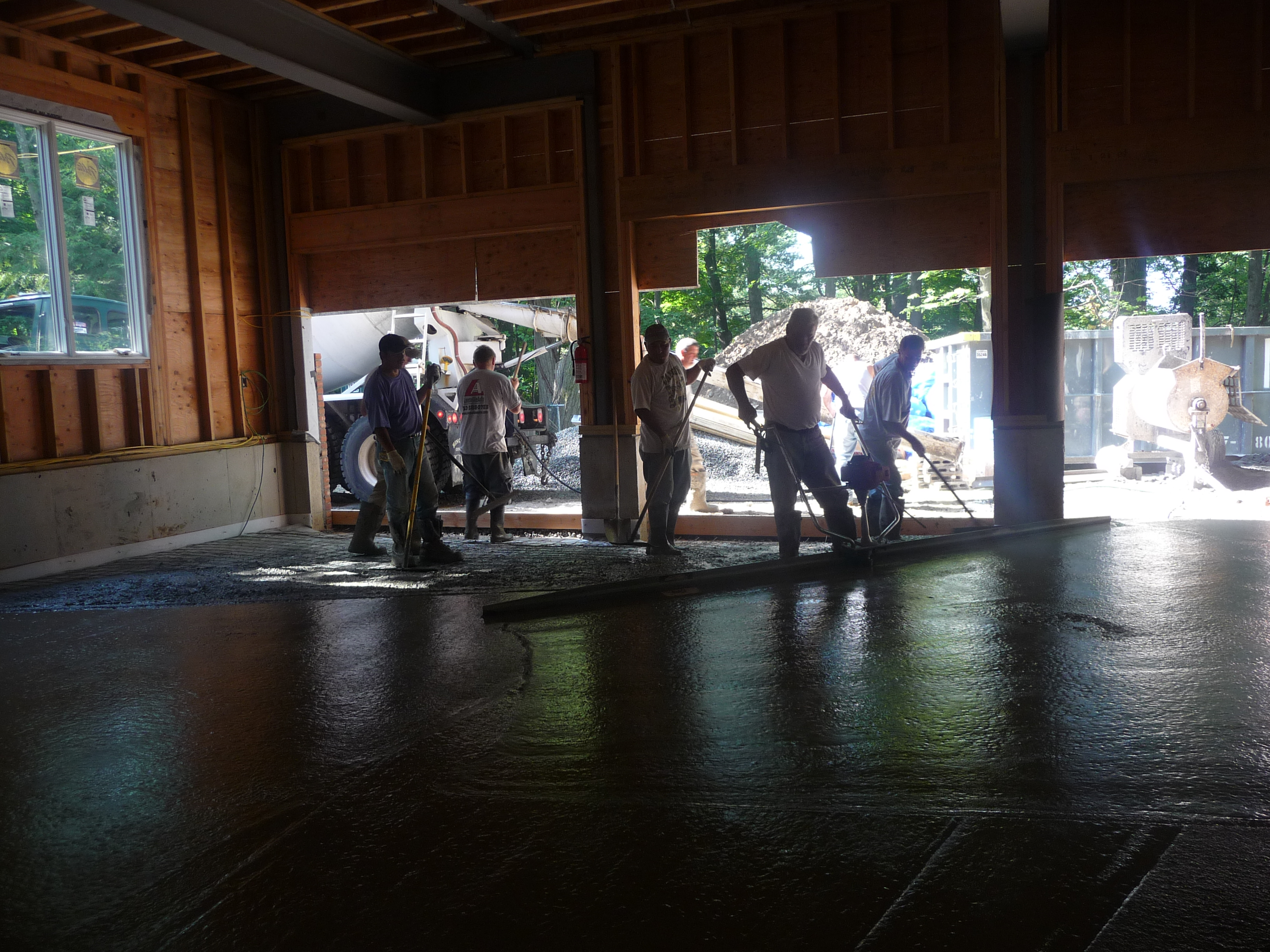poring garage floor concrete