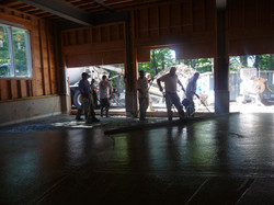 poring garage floor concrete