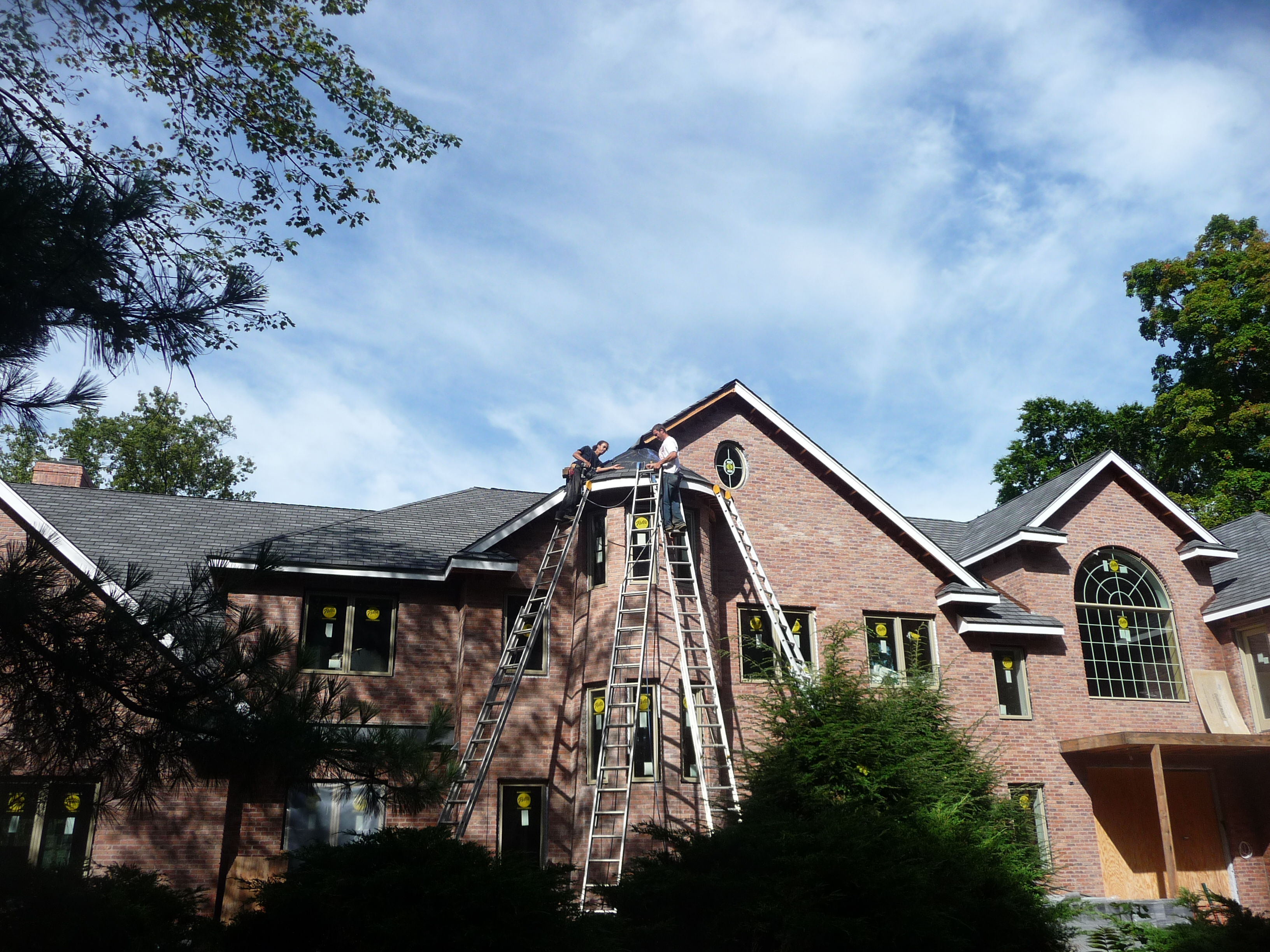 installing roof on custom brick home