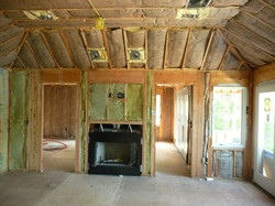 fireplace installed in rough framing