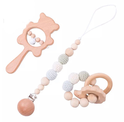 Baby Toys Wooden Rattle Infant Babyplay