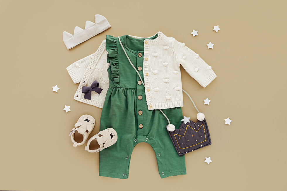 Green romper with knitted jumper, kids h