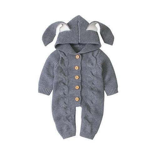 Cozy Rabbit Bodysuit Grey