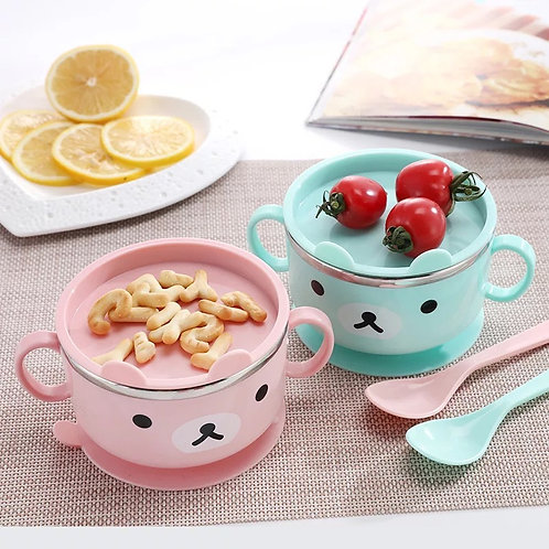 Baby Bowl Tableware Learning Cartoon Bear with Cover Baby Stainless