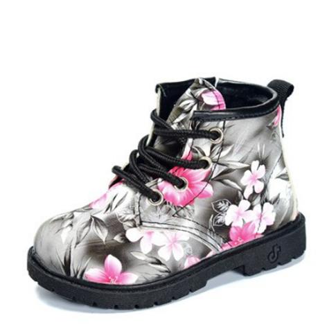 Floral Booties Black/Pink