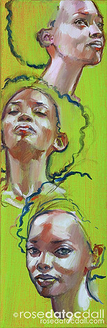 MARLENA IN GREEN MINI-STUDY, by Rose Datoc Dall, oil on canvas, 4x12, 2014, not for sale