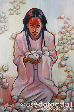 WHITE APPLE GATHERER, by Rose Datoc Dall, oil on canvas, 36x24, SOLD