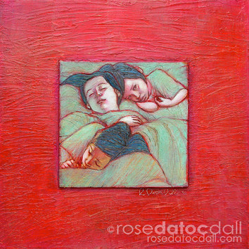 SEA OF SLEEP, by Rose Datoc Dall, acrylic on wood-burned panel, 24x24, 1996, not for sale