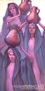 WOMEN AT THE WELL by Rose Datoc Dall, oil on canvas, 36x18, 2014