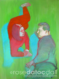 COMPANIONS, by Rose Datoc Dall, acrylic on canvas, 48x36, 1999, not for sale