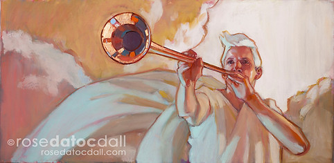 FOR THE TRUMPET SHALL SOUND by Rose Datoc Dall, oil on canvas, 20x10, 2017, SOLD