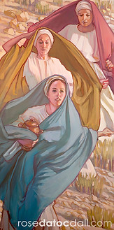 FIRST NEWS OF THE RESURRECTION, by Rose Datoc Dall, oil on canvas, 48x24, SOLD