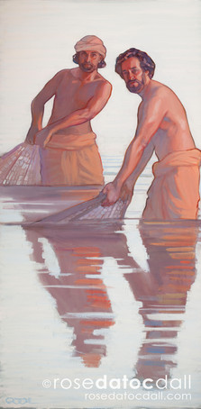 LEAVE YOUR NETS, oil on canvas, 24x48, 2017, available for purchase