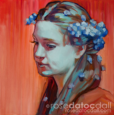 FORGET-ME-NOT GIRL 2 , by Rose Datoc Dall, oil on canvas, 12x12, 2014, SOLD