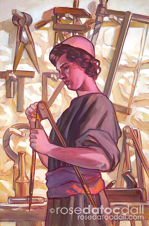 Young Carpenter, by Rose Datoc Dall, 22x33 Signed Limited Edition Print