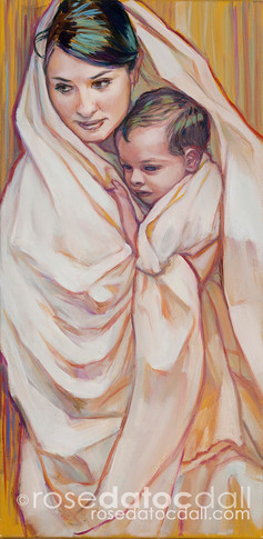 MARY AND CHILD, by Rose Datoc Dall, oil on canvas, 12x24, 2012, SOLD