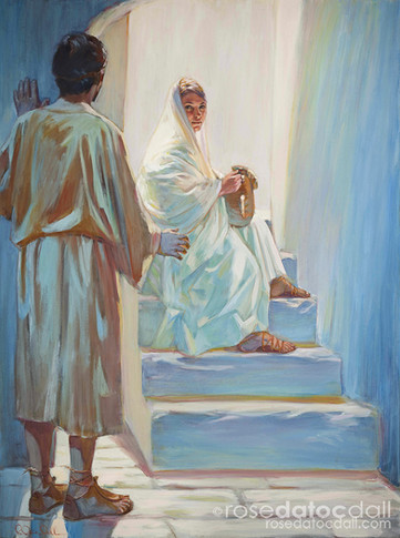 MARY AND JOSEPH, by Rose Datoc Dall, oil on canvas, 48x36, 2003, NOT FOR SALE