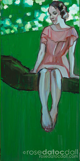 DREAMING OF GREEN 2, by Rose Datoc Dall, oil on canvas, 12x24, 2016, available for purchase