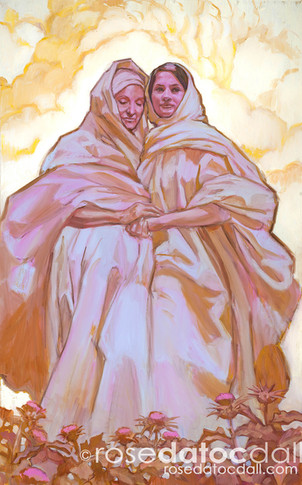 MARY AND ELISABETH, by Rose Datoc Dall, oil on canvas, 48x30, 2013, available for purchase