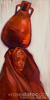 WATER CARRIER 1 by Rose Datoc Dall, oil on canvas, 15x30, available for purchase