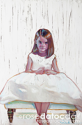 KATE IN WHITE, by Rose Datoc Dall, oil on canvas, 20x30, 2015, available for purchase