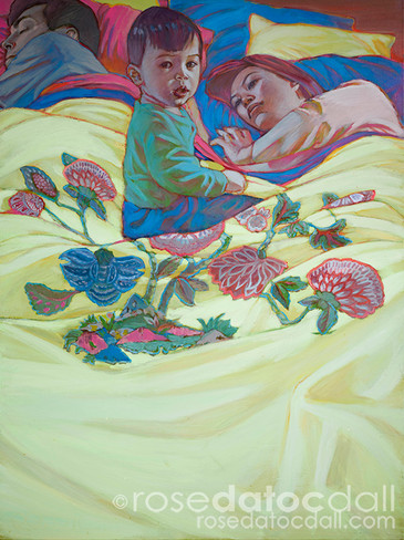 ENDLESS PURSUIT OF SLEEP, by Rose Datoc Dall, acrylic on canvas, 48x36, 2002, not for sale
