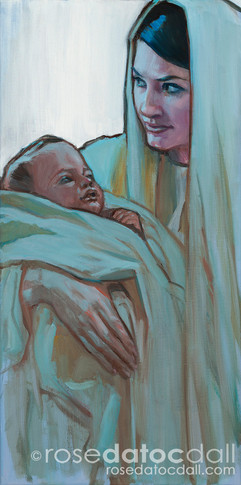MARY AND BABE, by Rose Datoc Dall, oil on canvas, 10x20, 2008, SOLD