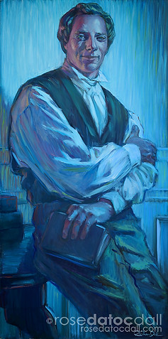 MODERN PROPHET, by Rose Datoc Dall, oil on canvas, 48x24, 2005, not for sale