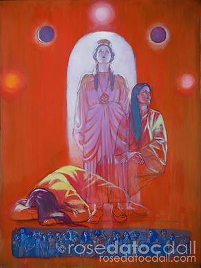 THREE DAYS FOR ESTHER, by Rose Datoc Dall, oil ver acrylic on canvas, 48x36, 2002, not for sale