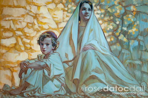 YOUNG SON OF MAN AND MOTHER, by Rose Datoc Dall, oil on canvas, 24x36, 2011, SOLD