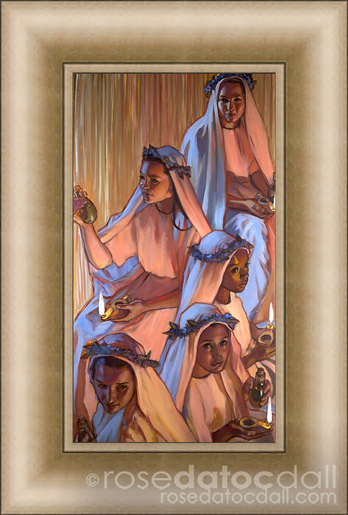 Five That Were Wise, by Rose Datoc Dall, 9x17, 16x21 frame