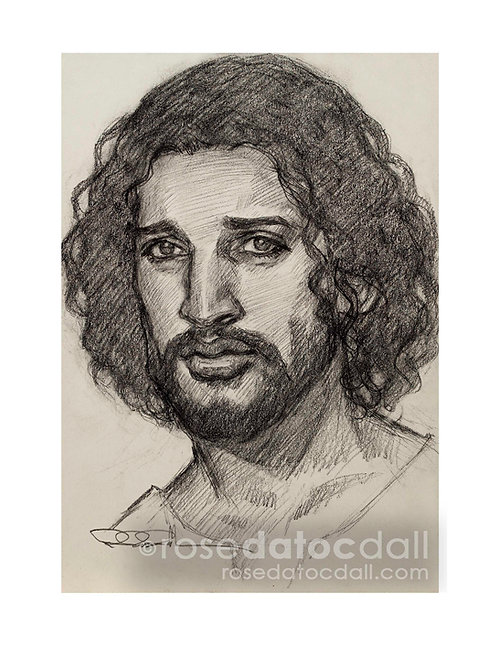 Drawing Study of Christ, by Rose Datoc Dall, 8x11.5 Signed Limited Edition Paper