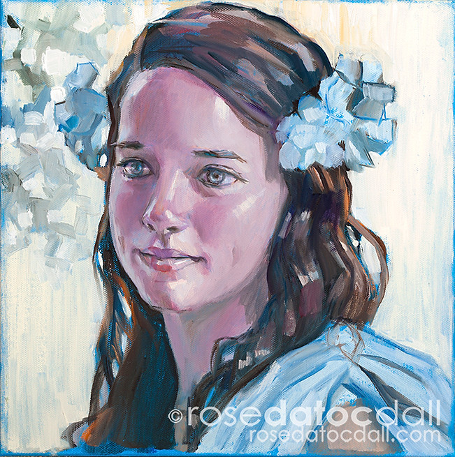 DEPHINIUM GIRL, by Rose Datoc Dall, oil on canvas, 12x12, 2014, SOLD