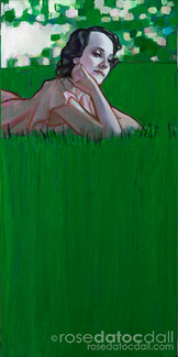 DREAMING OF GREEN 3, by Rose Datoc Dall, oil on canvas, 12x24, 2016, available for purchase