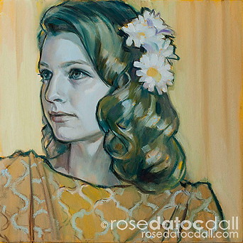 DAISY GIRL 1, by Rose Datoc Dall, oil on canvas, 12x12, 2014, SOLD