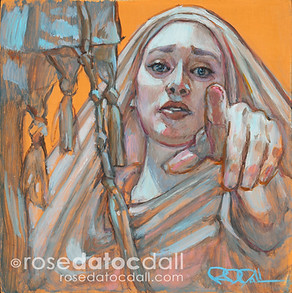 """WOMAN OF FAITH by Rose Datoc Dall, oil on panel, 5x5"""", 2018"""